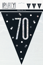 Black Glitz 70th Birthday Foil Flag Banner 9ft