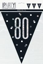 Black Glitz 80th Birthday Foil Flag Banner 9ft