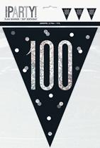 Black Glitz 100th Birthday Foil Flag Banner 9ft