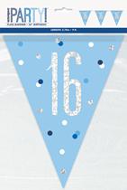 Blue Glitz 16th Birthday Foil Flag Banner 9ft