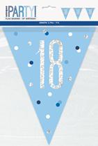 Blue Glitz 18th Birthday Foil Flag Banner 9ft