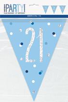 Blue Glitz 21st Birthday Foil Flag Banner 9ft