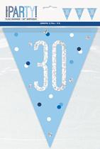 Blue Glitz 30th Birthday Foil Flag Banner 9ft