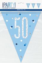 Blue Glitz 50th Birthday Foil Flag Banner 9ft