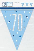 Blue Glitz 70th Birthday Foil Flag Banner 9ft