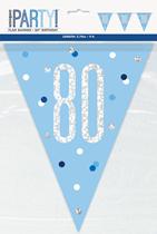 Blue Glitz 80th Birthday Foil Flag Banner 9ft