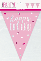 Pink Glitz Happy Birthday Foil Flag Banner 9ft