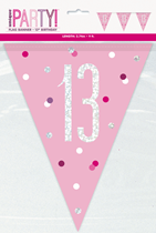 Pink Glitz 13th Birthday Foil Flag Banner 9ft