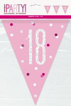 Pink Glitz 18th Birthday Foil Flag Banner 9ft