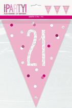 Pink Glitz 21st Birthday Foil Flag Banner 9ft