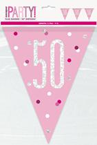 Pink Glitz 50th Birthday Foil Flag Banner 9ft