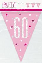 Pink Glitz 60th Birthday Foil Flag Banner 9ft