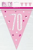 Pink Glitz 70th Birthday Foil Flag Banner 9ft