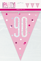 Pink Glitz 90th Birthday Foil Flag Banner 9ft