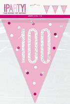 Pink Glitz 100th Birthday Foil Flag Banner 9ft