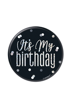 "Black Glitz It's My Birthday 3"" Badge"