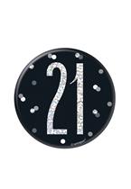 "Black Glitz 21st Birthday 3"" Badge"