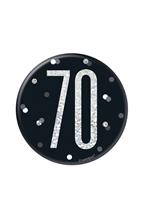 "Black Glitz 70th Birthday 3"" Badge"