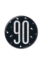 "Black Glitz 90th Birthday 3"" Badge"