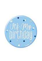 "Blue Glitz It's My Birthday Birthday 3"" Badge"