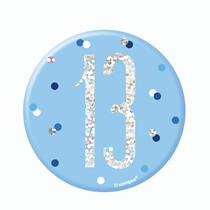 "Blue Glitz 13th Birthday 3"" Badge"