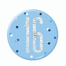 "Blue Glitz 16th Birthday 3"" Badge"