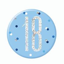 "Blue Glitz 18th Birthday 3"" Badge"