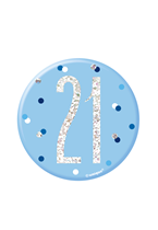 "Blue Glitz 21st Birthday 3"" Badge"