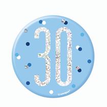 "Blue Glitz 30th Birthday 3"" Badge"