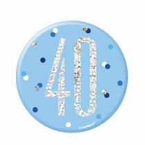 "Blue Glitz 40th Birthday 3"" Badge"