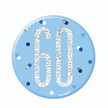 "Blue Glitz 60th Birthday 3"" Badge"
