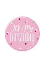 "Pink Glitz 3"" It's My Birthday Badge"