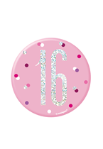 "Pink Glitz 16th Birthday 3"" Badge"