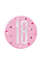 "Pink Glitz 18th Birthday 3"" Badge"