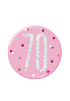 "Pink Glitz 70th Birthday 3"" Badge"