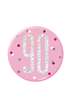 "Pink Glitz 90th Birthday 3"" Badge"