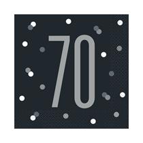 NEW Black Glitz 70th Birthday Lunch Napkins 16pk