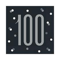 Black Glitz 100th Birthday Lunch Napkins 16pk