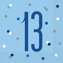 Blue Glitz 13th Birthday Lunch Napkins 16pk