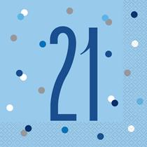 Blue Glitz 21st Birthday Lunch Napkins 16pk