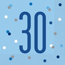 Blue Glitz 30th Birthday Lunch Napkins 16pk