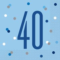 Blue Glitz 40th Birthday Lunch Napkins 16pk
