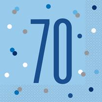 Blue Glitz 70th Birthday Lunch Napkins 16pk