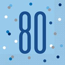Blue Glitz 80th Birthday Lunch Napkins 16pk