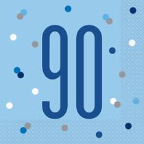 Blue Glitz 90th Birthday Lunch Napkins 16pk