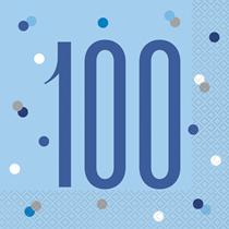 Blue Glitz 100th Birthday Lunch Napkins 16pk