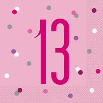 Pink Glitz 13th Birthday Napkins 16pk
