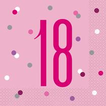Pink Glitz 18th Birthday Napkins 16pk