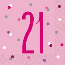 Pink Glitz 21st Birthday Napkins 16pk