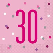 Pink Glitz 30th Birthday Napkins 16pk
